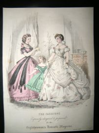Englishwoman's Domestic Magazine 1864 Hand Col Fashion Print. January